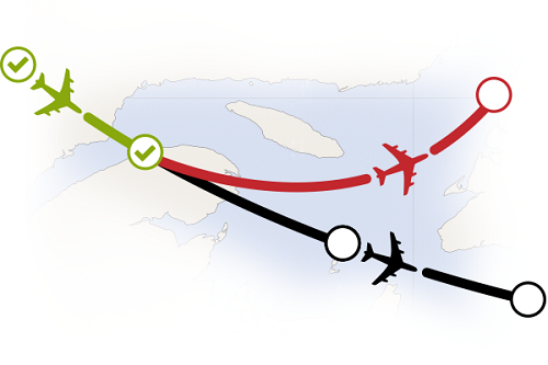 The image shows a tracked flight going off course and the Flight Following alerting operations