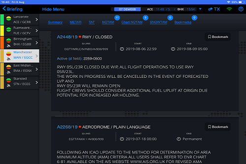 The image shows NOTAM alerts for airports displayed within skybook.