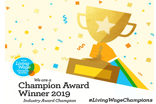 Living Wage Champion Award Winner 2019. A cartoon hand holds up a gold trophy with ticker tape in the background.