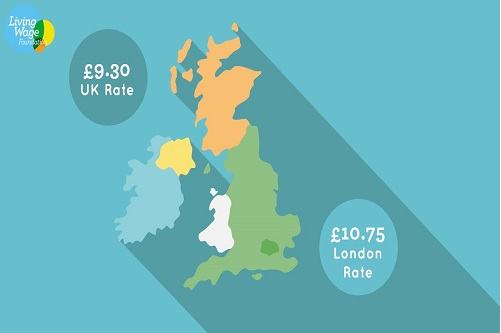 The image shows a map of Great Britain with the Living Wage Foundation new rates of pay displayed in a blue circle.